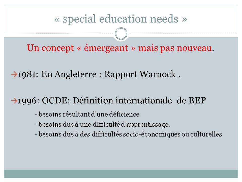 « special education needs » Un concept « émergeant » mais pas nouveau. 1981: En Angleterre : Rapport Warnock. 1996: OCDE: Définition internationale de