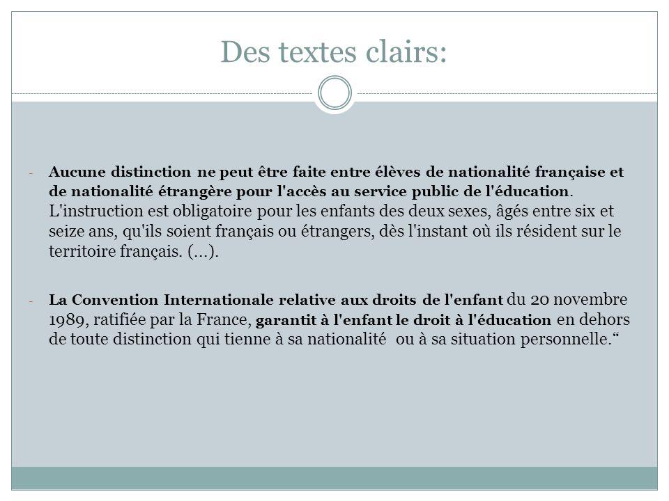 Des textes clairs: - Aucune distinction ne peut être faite entre élèves de nationalité française et de nationalité étrangère pour l'accès au service p