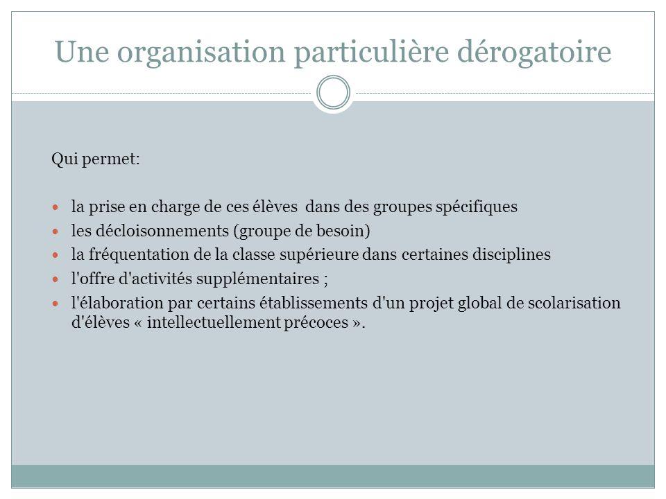Une organisation particulière dérogatoire Qui permet: la prise en charge de ces élèves dans des groupes spécifiques les décloisonnements (groupe de be