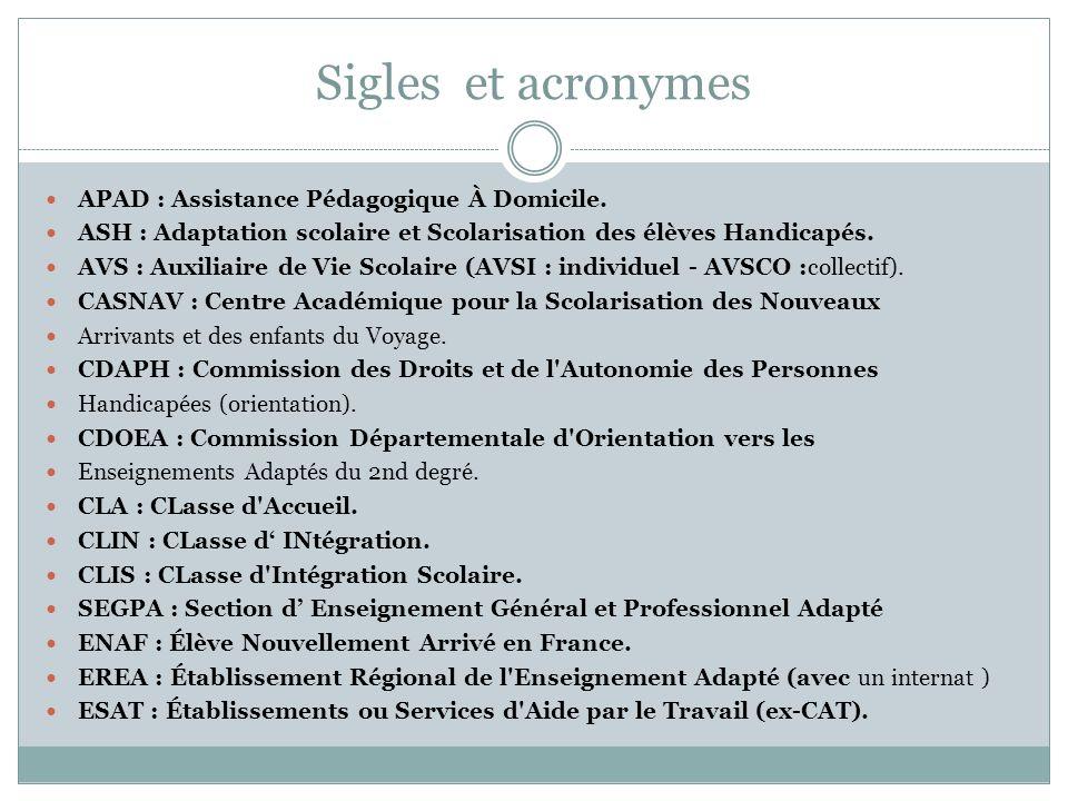 Sigles et acronymes APAD : Assistance Pédagogique À Domicile. ASH : Adaptation scolaire et Scolarisation des élèves Handicapés. AVS : Auxiliaire de Vi