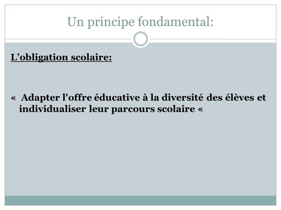 Un principe fondamental: Lobligation scolaire: « Adapter l'offre éducative à la diversité des élèves et individualiser leur parcours scolaire «