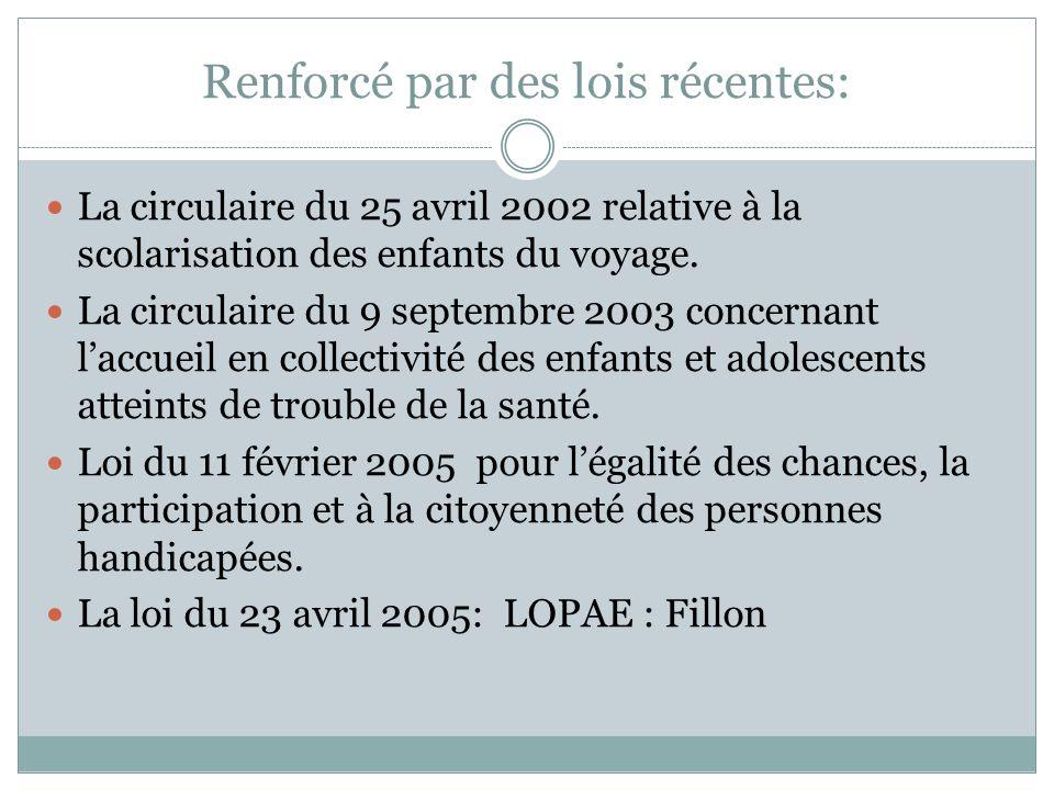Renforcé par des lois récentes: La circulaire du 25 avril 2002 relative à la scolarisation des enfants du voyage. La circulaire du 9 septembre 2003 co