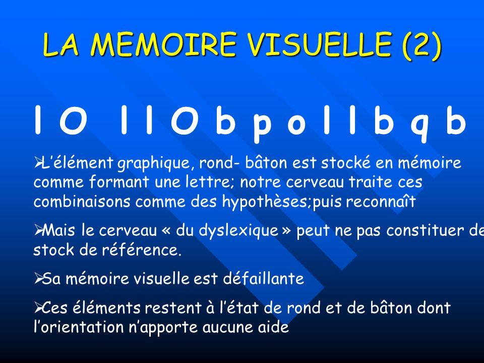LA MEMOIRE VISUELLE (2) l O l l O b p o l l b q b Lélément graphique, rond- bâton est stocké en mémoire comme formant une lettre; notre cerveau traite ces combinaisons comme des hypothèses;puis reconnaît Mais le cerveau « du dyslexique » peut ne pas constituer de stock de référence.