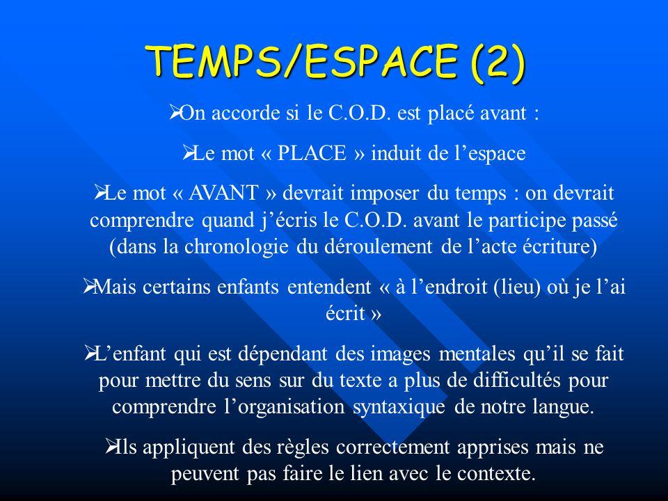TEMPS/ESPACE (2) On accorde si le C.O.D.