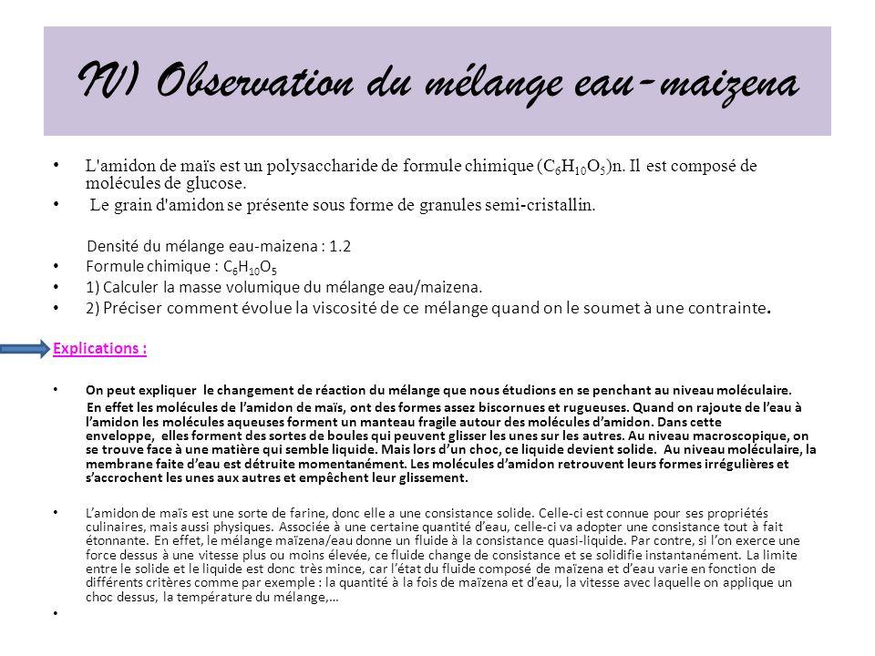 IV) Observation du mélange eau-maizena L amidon de maïs est un polysaccharide de formule chimique (C 6 H 10 O 5 )n.