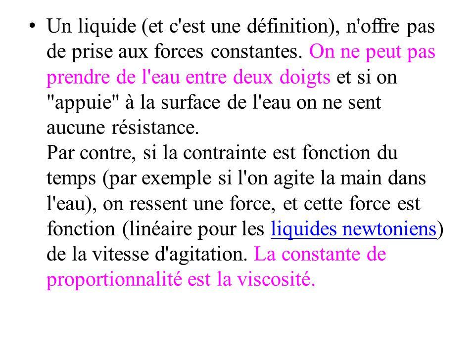 Un liquide (et c est une définition), n offre pas de prise aux forces constantes.