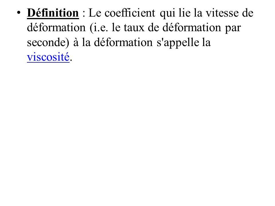 Définition : Le coefficient qui lie la vitesse de déformation (i.e.