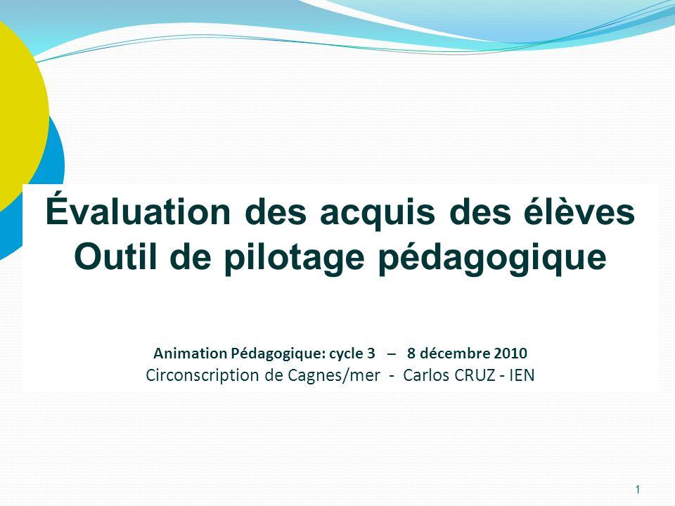 1 Évaluation des acquis des élèves Outil de pilotage pédagogique Animation Pédagogique: cycle 3 – 8 décembre 2010 Circonscription de Cagnes/mer - Carl