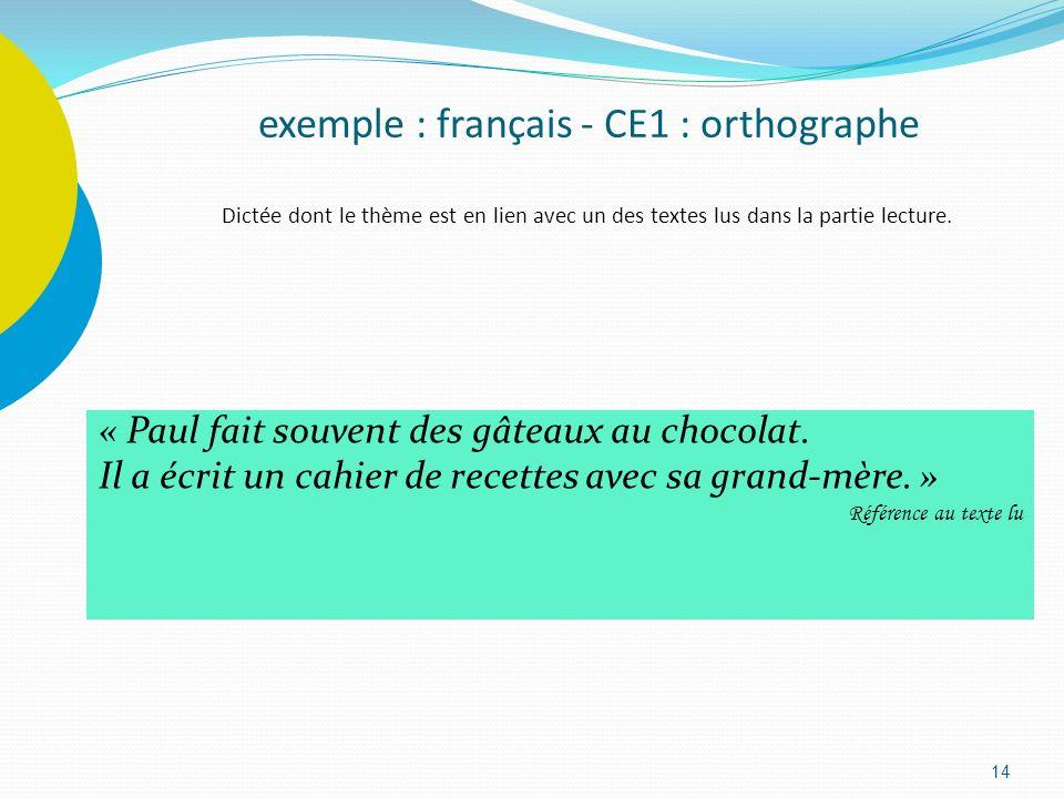 14 exemple : français - CE1 : orthographe Dictée dont le thème est en lien avec un des textes lus dans la partie lecture. « Paul fait souvent des gâte