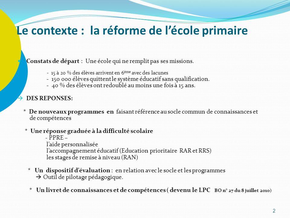 Le contexte : la réforme de lécole primaire Constats de départ : Une école qui ne remplit pas ses missions. - 15 à 20 % des élèves arrivent en 6 ème a