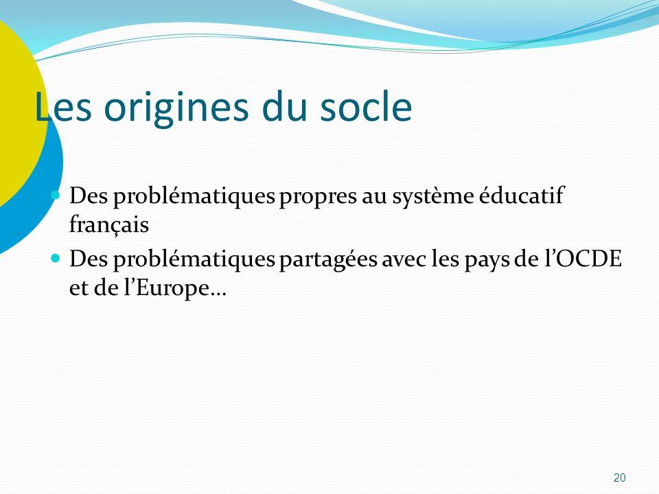 20 Les origines du socle Des problématiques propres au système éducatif français Des problématiques partagées avec les pays de lOCDE et de lEurope…