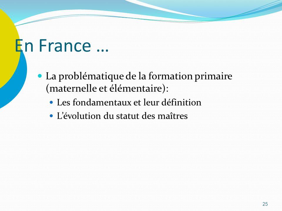 25 En France … La problématique de la formation primaire (maternelle et élémentaire): Les fondamentaux et leur définition Lévolution du statut des maî
