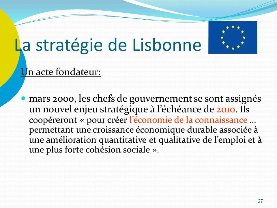 27 La stratégie de Lisbonne Un acte fondateur: mars 2000, les chefs de gouvernement se sont assignés un nouvel enjeu stratégique à léchéance de 2010.