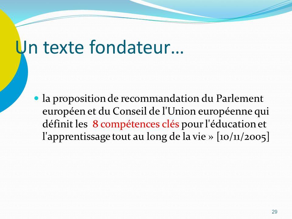 29 Un texte fondateur… la proposition de recommandation du Parlement européen et du Conseil de l'Union européenne qui définit les 8 compétences clés p