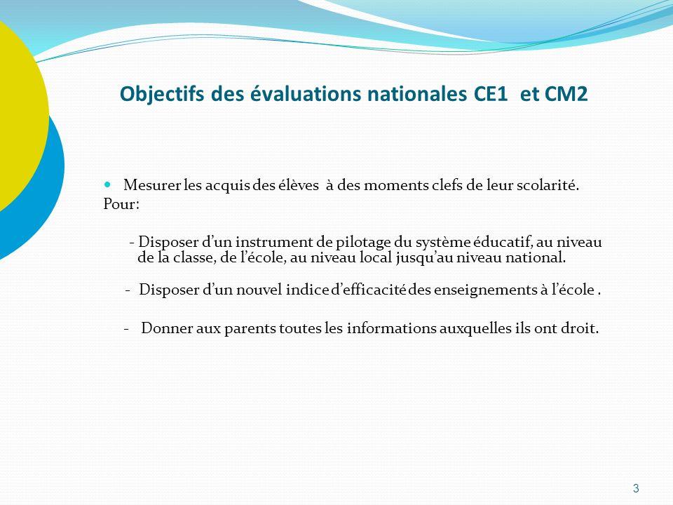 3 Objectifs des évaluations nationales CE1 et CM2 Mesurer les acquis des élèves à des moments clefs de leur scolarité. Pour: - Disposer dun instrument