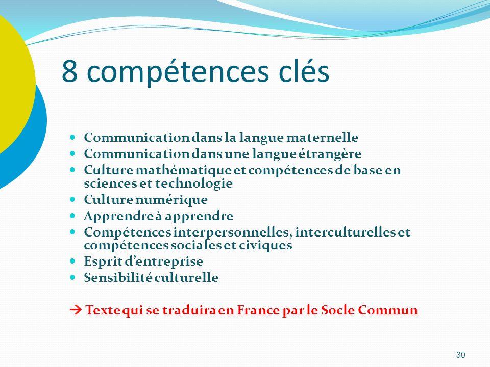 30 8 compétences clés Communication dans la langue maternelle Communication dans une langue étrangère Culture mathématique et compétences de base en s