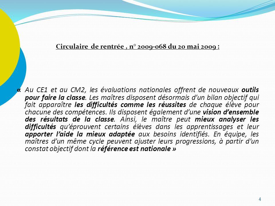 Circulaire de rentrée, n° 2009-068 du 20 mai 2009 : « Au CE1 et au CM2, les évaluations nationales offrent de nouveaux outils pour faire la classe. Le