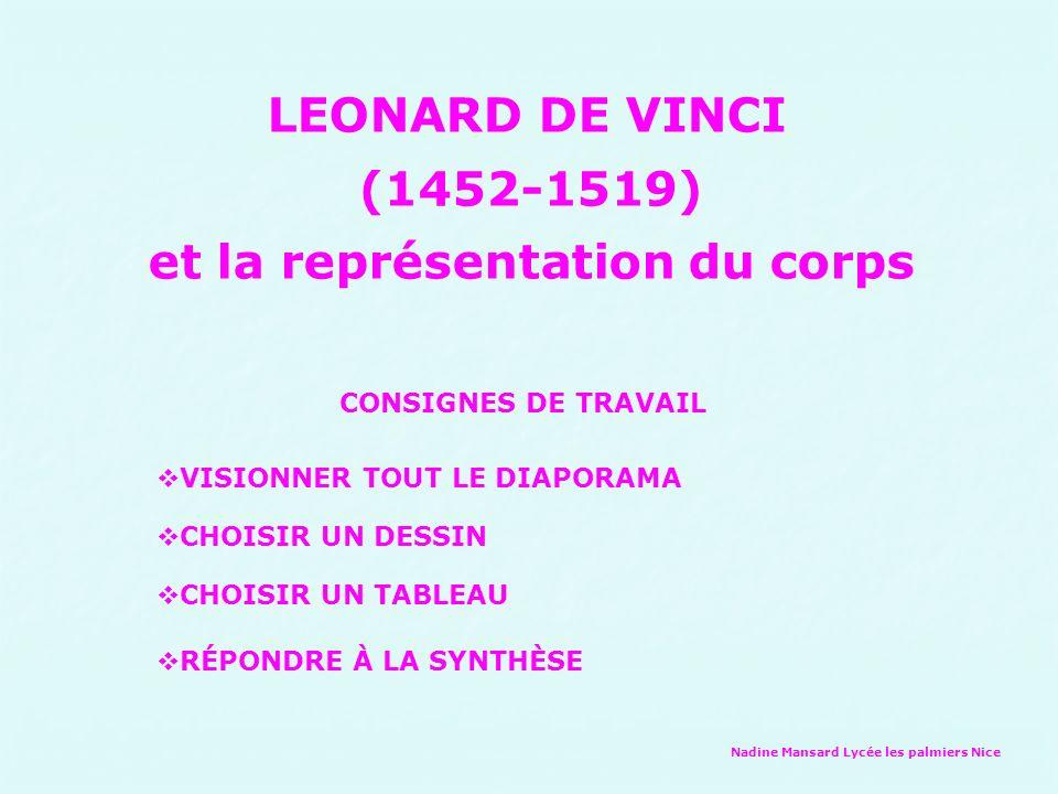 Nadine Mansard Lycée les palmiers Nice LEONARD DE VINCI (1452-1519) et la représentation du corps CONSIGNES DE TRAVAIL VISIONNER TOUT LE DIAPORAMA CHO