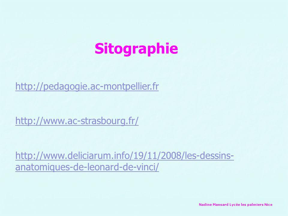Nadine Mansard Lycée les palmiers Nice http://pedagogie.ac-montpellier.fr http://www.ac-strasbourg.fr/ http://www.deliciarum.info/19/11/2008/les-dessins- anatomiques-de-leonard-de-vinci/ Sitographie