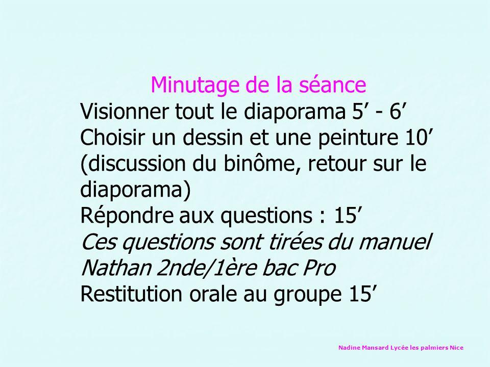 Nadine Mansard Lycée les palmiers Nice Minutage de la séance Visionner tout le diaporama 5 - 6 Choisir un dessin et une peinture 10 (discussion du bin
