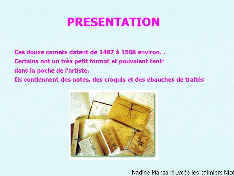 Nadine Mansard Lycée les palmiers Nice PRESENTATION Ces douze carnets datent de 1487 à 1508 environ.. Certains ont un très petit format et pouvaient t