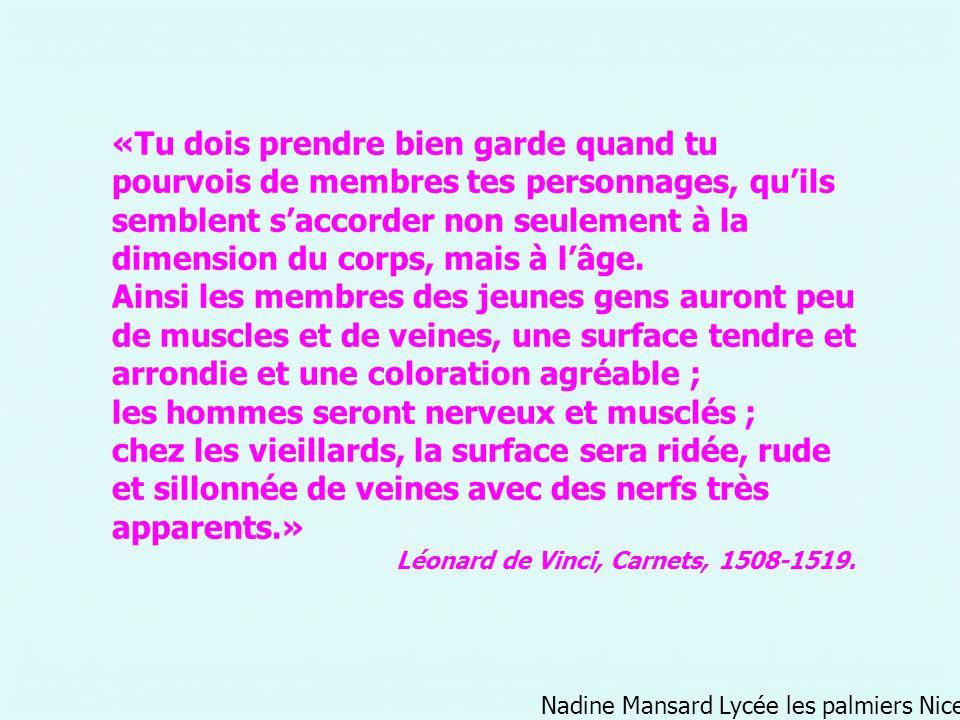 Nadine Mansard Lycée les palmiers Nice «Tu dois prendre bien garde quand tu pourvois de membres tes personnages, quils semblent saccorder non seulemen