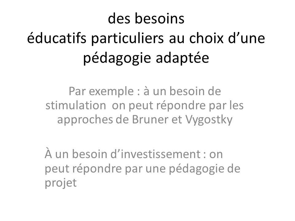 des besoins éducatifs particuliers au choix dune pédagogie adaptée Par exemple : à un besoin de stimulation on peut répondre par les approches de Brun