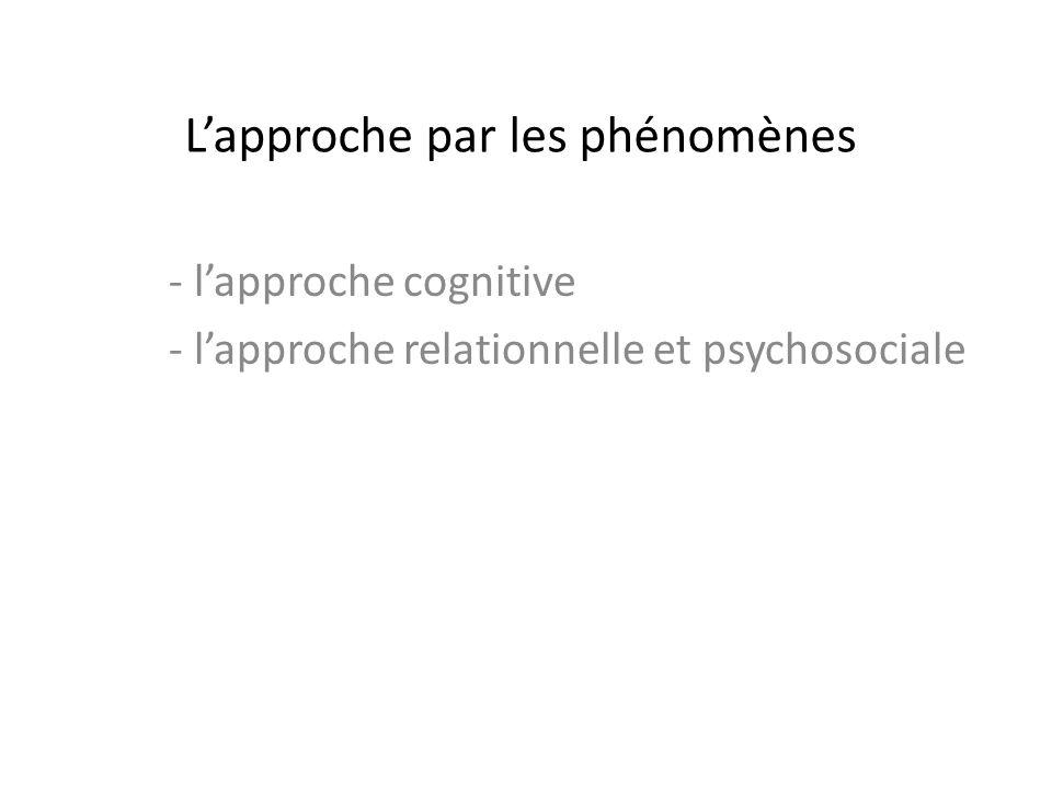 Lapproche par les phénomènes - lapproche cognitive - lapproche relationnelle et psychosociale
