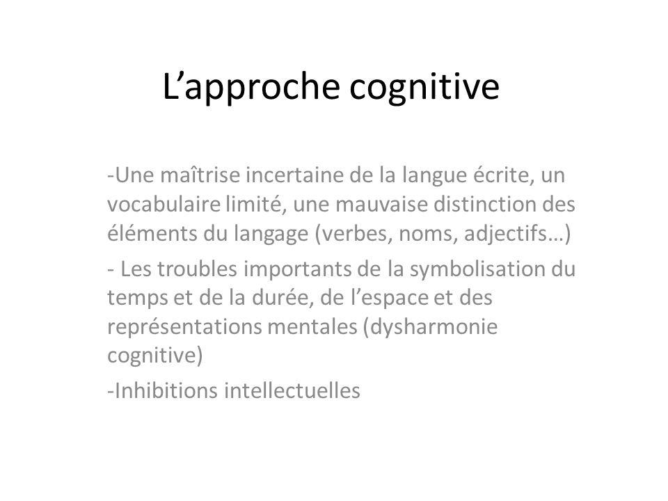 Lapproche cognitive -Une maîtrise incertaine de la langue écrite, un vocabulaire limité, une mauvaise distinction des éléments du langage (verbes, nom
