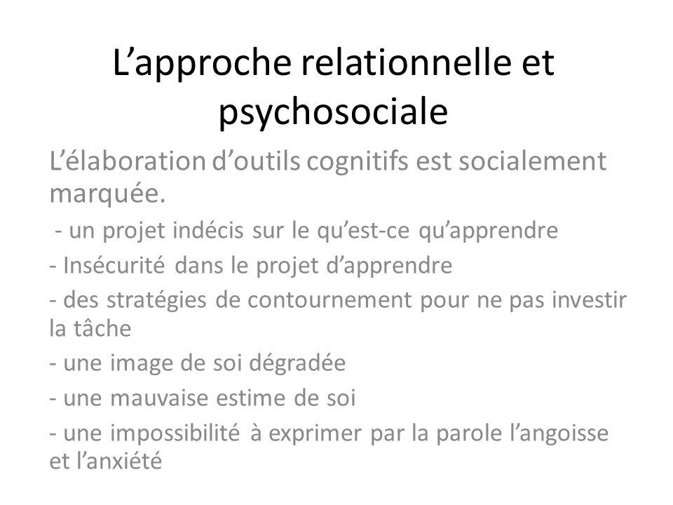 Lapproche relationnelle et psychosociale Lélaboration doutils cognitifs est socialement marquée. - un projet indécis sur le quest-ce quapprendre - Ins