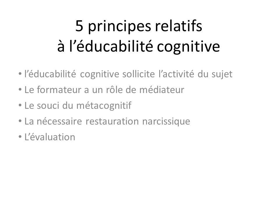 5 principes relatifs à léducabilité cognitive léducabilité cognitive sollicite lactivité du sujet Le formateur a un rôle de médiateur Le souci du méta