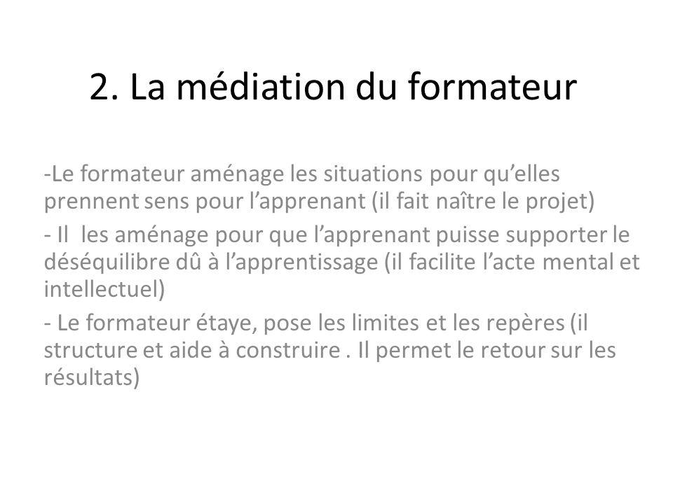 2. La médiation du formateur -Le formateur aménage les situations pour quelles prennent sens pour lapprenant (il fait naître le projet) - Il les aména