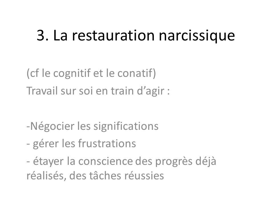 3. La restauration narcissique (cf le cognitif et le conatif) Travail sur soi en train dagir : -Négocier les significations - gérer les frustrations -