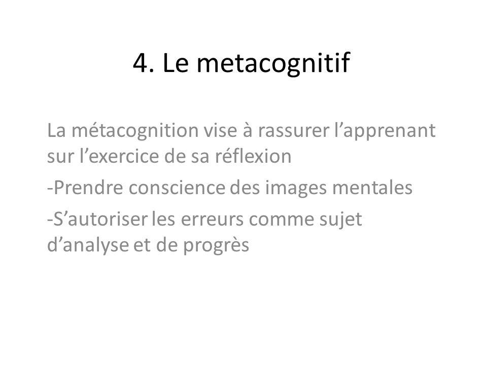 4. Le metacognitif La métacognition vise à rassurer lapprenant sur lexercice de sa réflexion -Prendre conscience des images mentales -Sautoriser les e