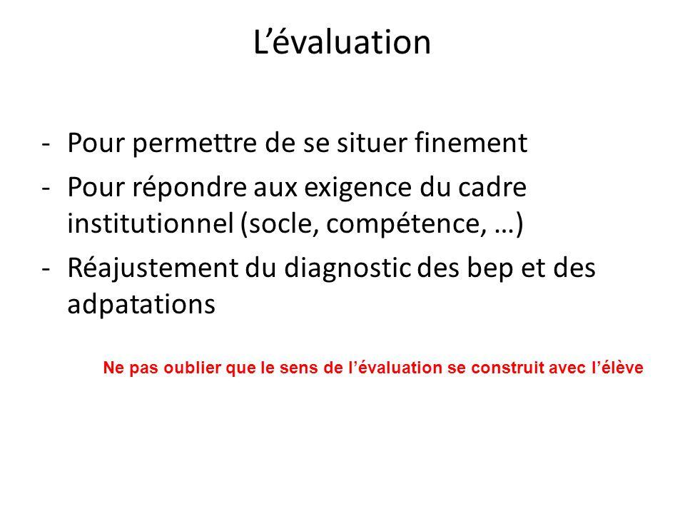 Lévaluation -Pour permettre de se situer finement -Pour répondre aux exigence du cadre institutionnel (socle, compétence, …) -Réajustement du diagnost