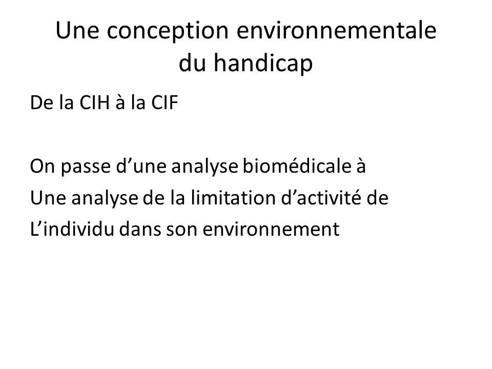 Une conception environnementale du handicap De la CIH à la CIF On passe dune analyse biomédicale à Une analyse de la limitation dactivité de Lindividu