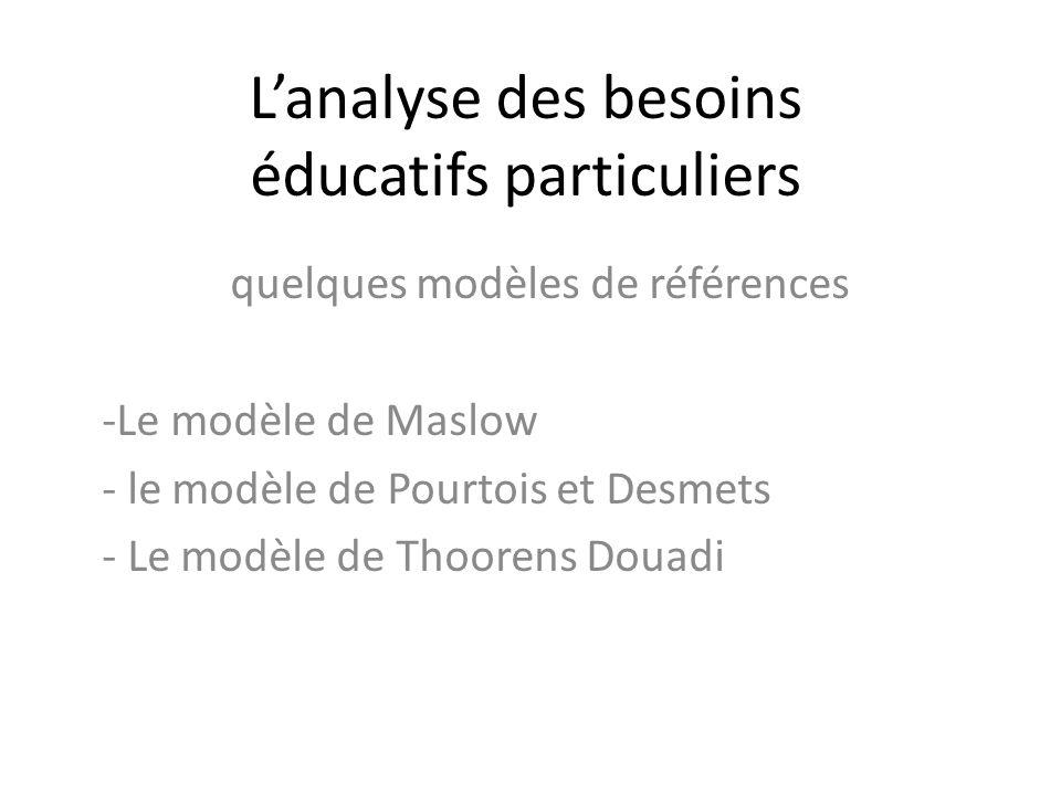 Lanalyse des besoins éducatifs particuliers quelques modèles de références -Le modèle de Maslow - le modèle de Pourtois et Desmets - Le modèle de Thoo