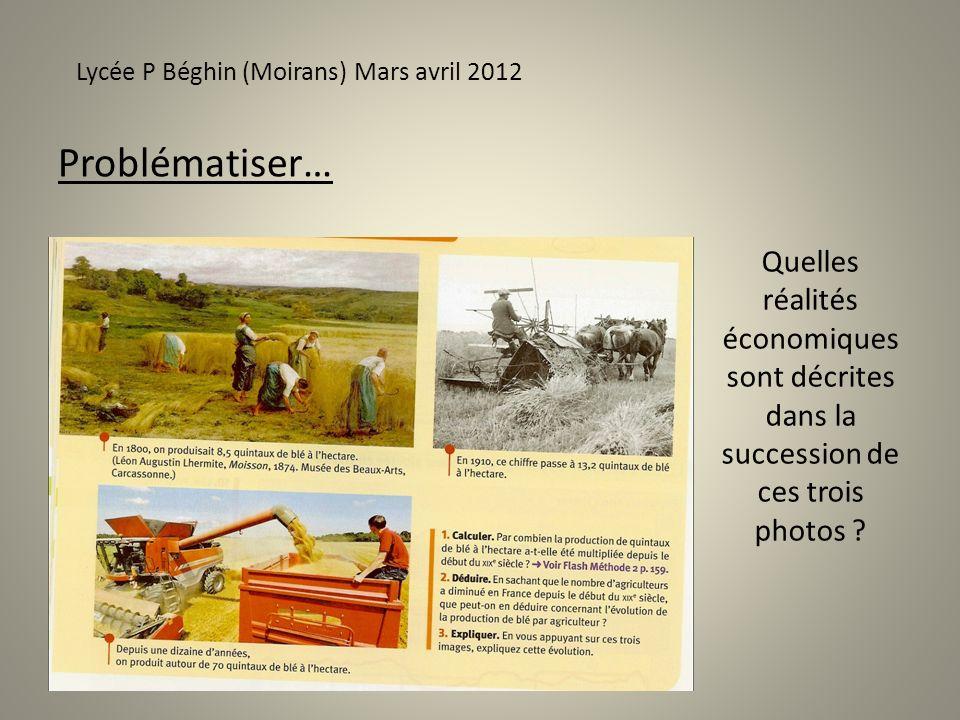 Problématiser… Lycée P Béghin (Moirans) Mars avril 2012 Quelles réalités économiques sont décrites dans la succession de ces trois photos