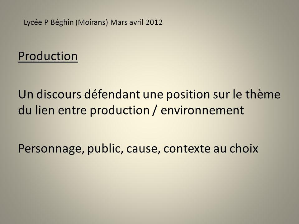 Production Un discours défendant une position sur le thème du lien entre production / environnement Personnage, public, cause, contexte au choix Lycée P Béghin (Moirans) Mars avril 2012