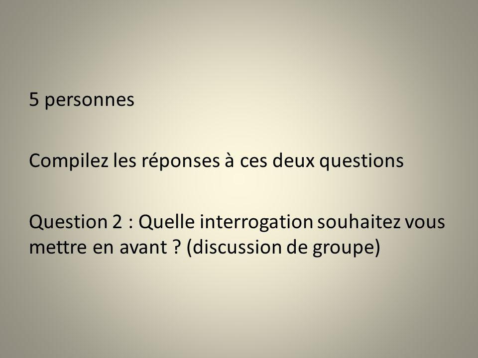 5 personnes Compilez les réponses à ces deux questions Question 2 : Quelle interrogation souhaitez vous mettre en avant .