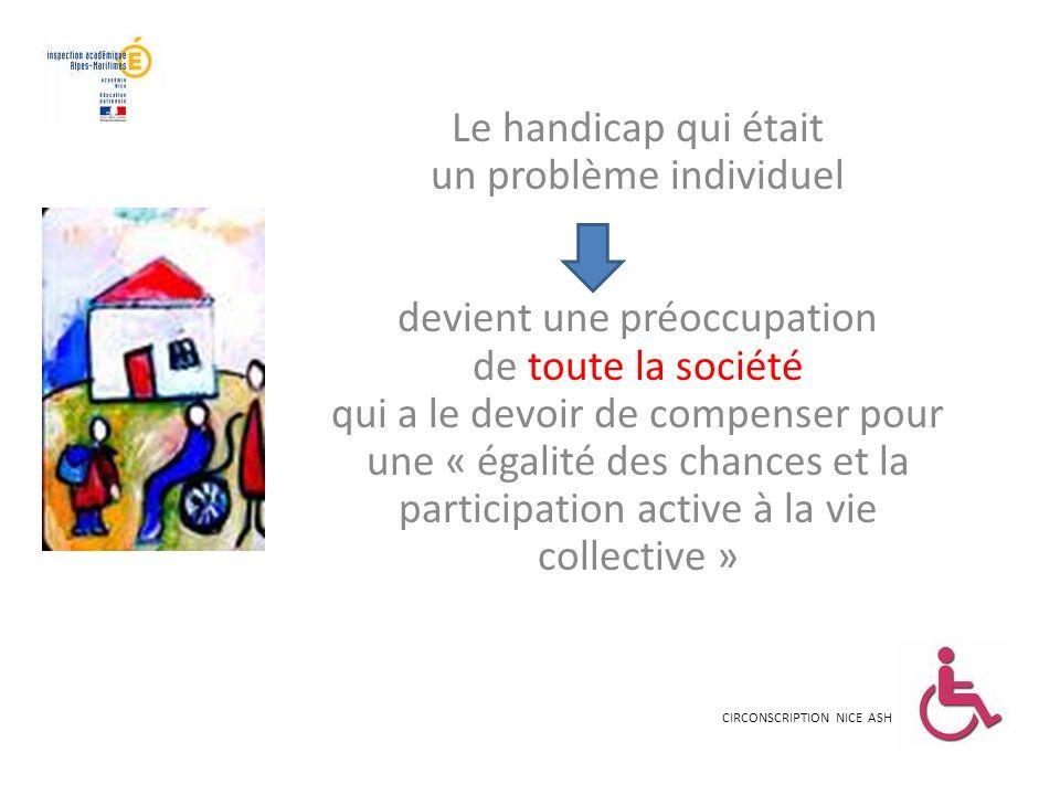 Le handicap qui était un problème individuel devient une préoccupation de toute la société qui a le devoir de compenser pour une « égalité des chances