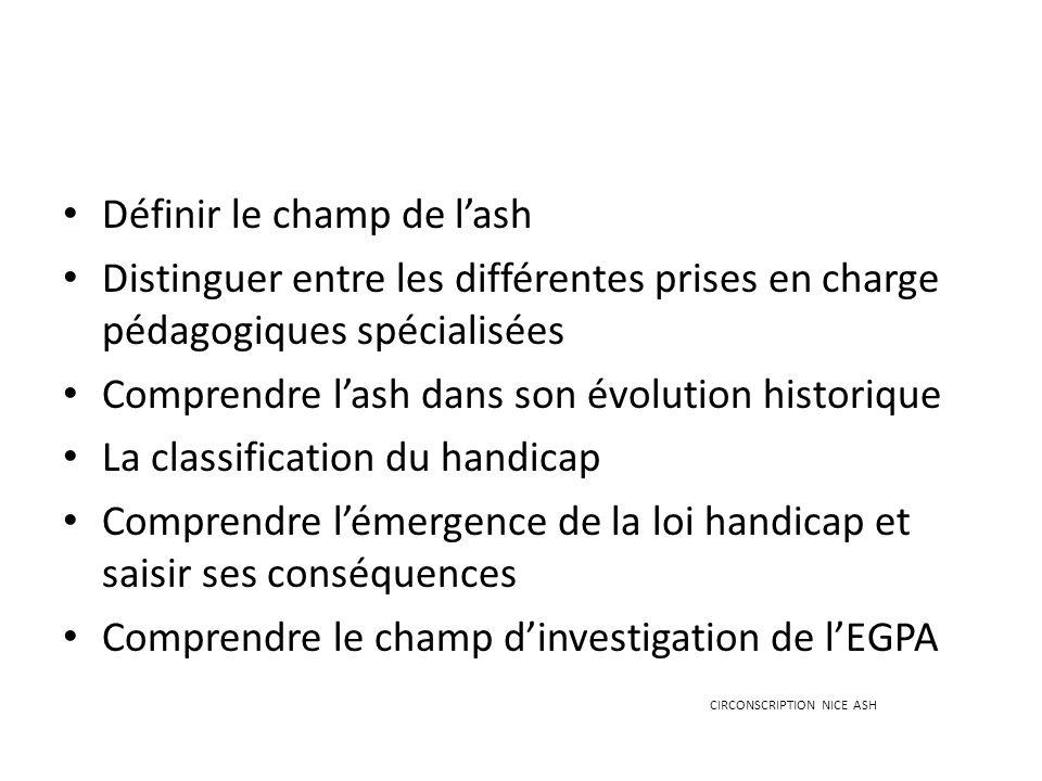 Définir le champ de lash Distinguer entre les différentes prises en charge pédagogiques spécialisées Comprendre lash dans son évolution historique La