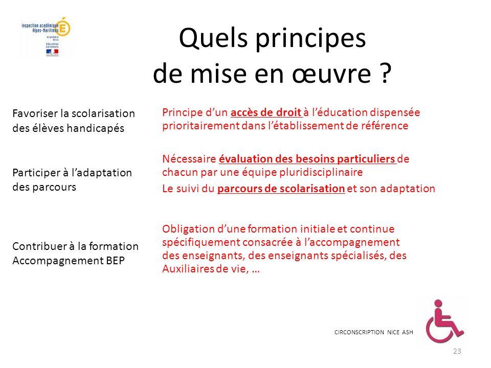 Quels principes de mise en œuvre ? Principe dun accès de droit à léducation dispensée prioritairement dans létablissement de référence Nécessaire éval