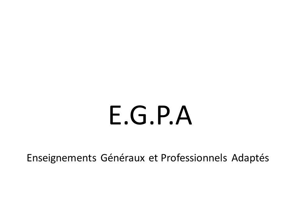 E.G.P.A Enseignements Généraux et Professionnels Adaptés