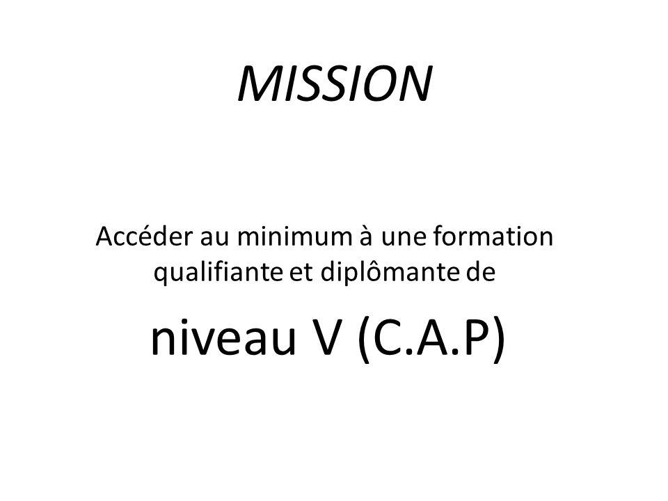 MISSION Accéder au minimum à une formation qualifiante et diplômante de niveau V (C.A.P)