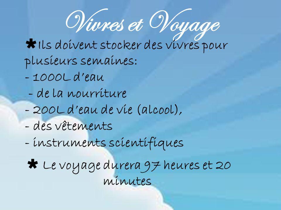 Le voyage durera 97 heures et 20 minutes Vivres et Voyage Ils doivent stocker des vivres pour plusieurs semaines: - 1000L deau - de la nourriture - 20