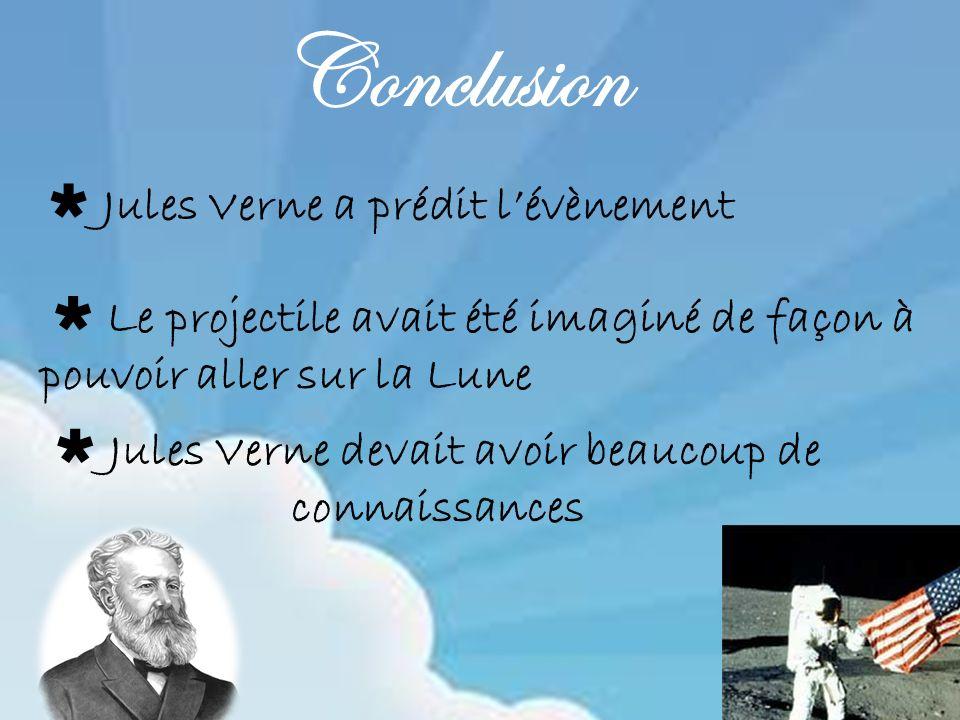 Jules Verne devait avoir beaucoup de connaissances Conclusion Jules Verne a prédit lévènement Le projectile avait été imaginé de façon à pouvoir aller sur la Lune