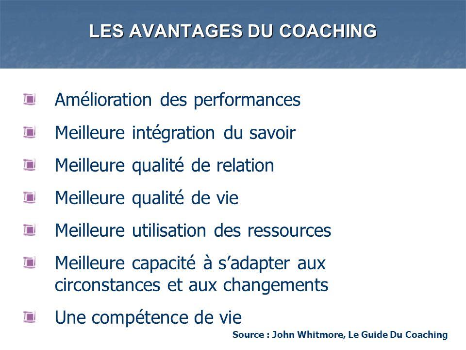 LES AVANTAGES DU COACHING Amélioration des performances Meilleure intégration du savoir Meilleure qualité de relation Meilleure qualité de vie Meilleu