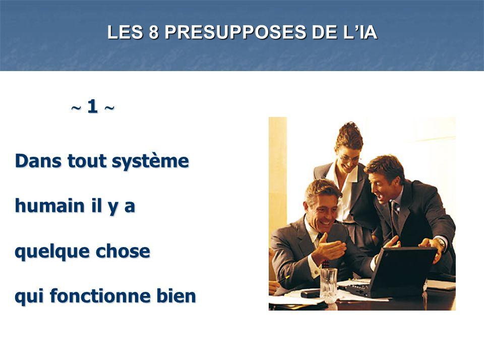 LES 8 PRESUPPOSES DE LIA 1 1 Dans tout système humain il y a quelque chose qui fonctionne bien