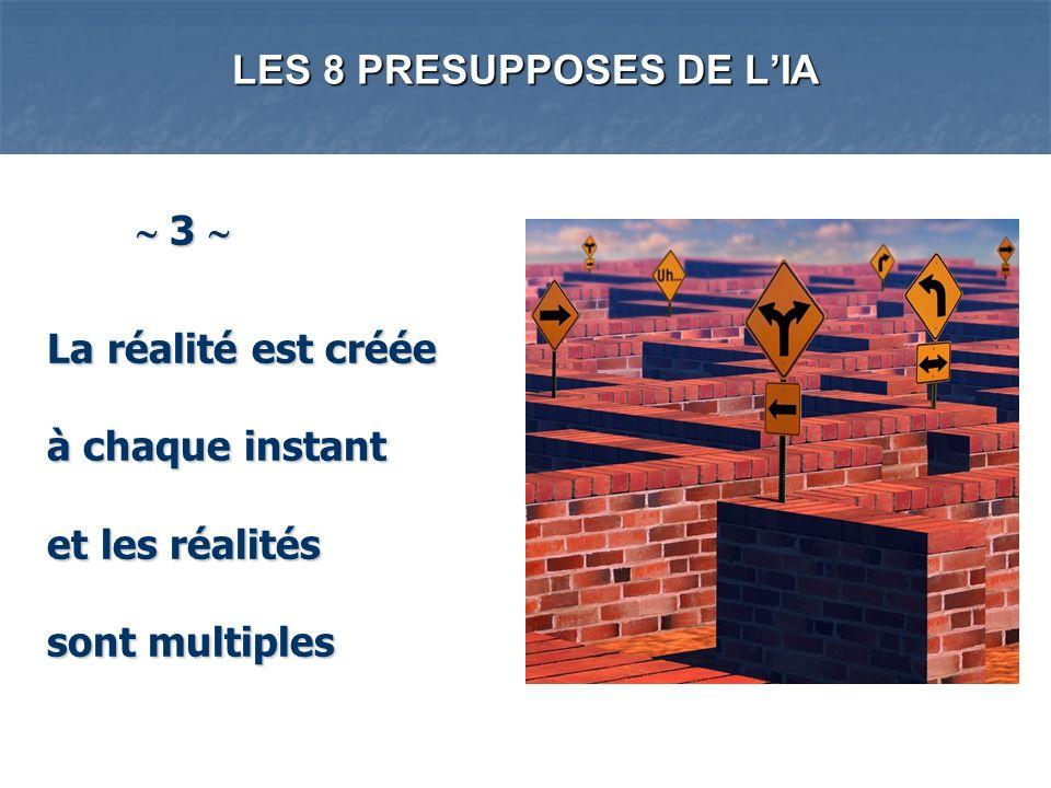 LES 8 PRESUPPOSES DE LIA 3 3 La réalité est créée à chaque instant et les réalités sont multiples La réalité est créée à chaque instant et les réalité